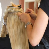 Applying the hair extensions
